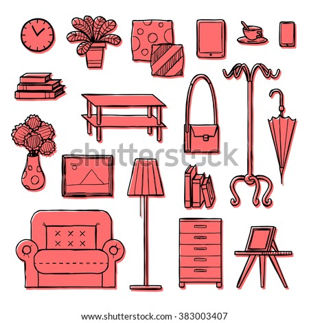 interior accessories icons set, hand drawn, doodle sketch style, vector illustration.
