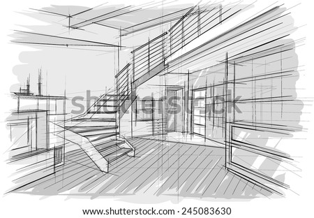 Interior. Architectural drawings. Stair - stock vector