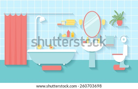 Interior bathroom in flat style. Mirror and toilet, washbasin and furniture. Vector illustration - stock vector