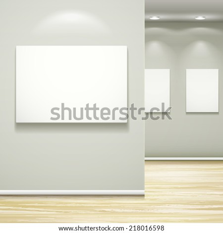 interior blank billboards hanging on the wall with light - stock vector