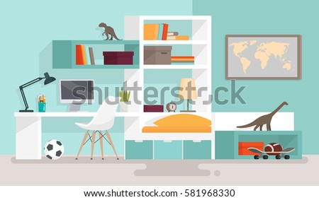 Interior boy's room. Vector illustration in a flat style