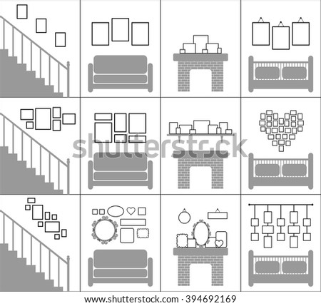 Interior Decoration Concept. Blank Picture Frames Template Set. Photo  Gallery On Wall Of Stairs