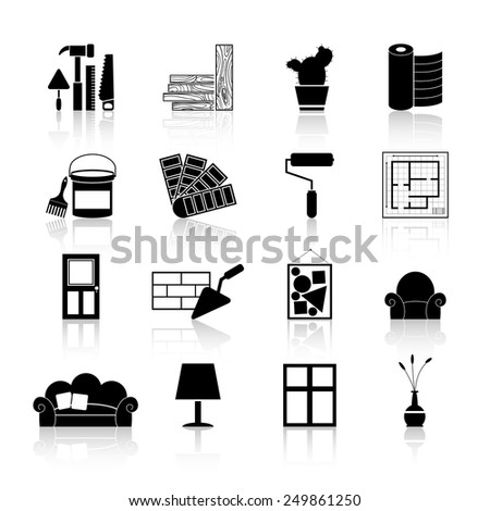 Interior design and art decoration and room indoors improvement icons black set isolated vector illustration - stock vector