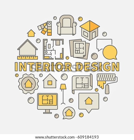 Interior Design Colorful Illustration Vector Circular Stock Vector ...