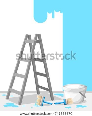 Vector illustration aluminum step folding ladder stock for Interior design web app