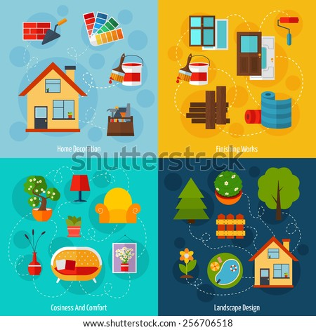 Interior design concept set with home decoration finishing works cosiness comfort and landscape flat icons isolated vector illustration - stock vector