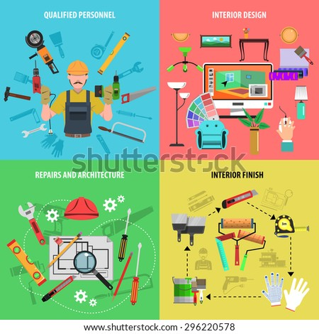 Interior design concept set with repairs and architecture qualified personnel flat icons isolated vector illustration - stock vector