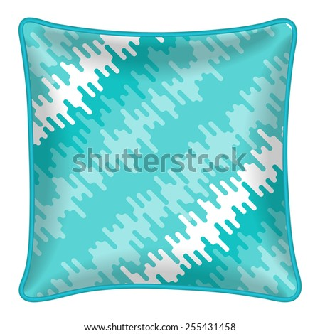 Interior design element - Decorative throw pillow with patterned pillowcase - abstract geometric pattern. Isolated on white.  Vector illustration.