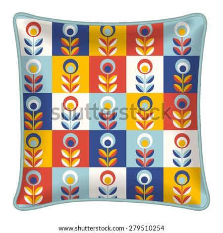 Interior Design Element Decorative Throw Pillow Stock Vector