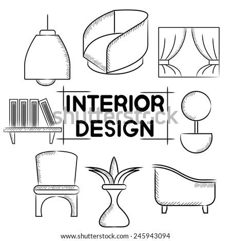 interior design, furniture - stock vector