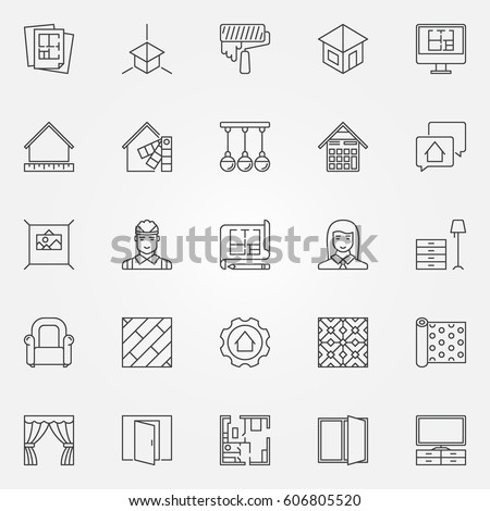 Interior design icons set. Vector architecture symbols for design company  signs or design elements in