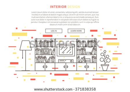 Interior design landing page linear vector illustration. Line graphic design of living room. Creative concept of flat interior design website page (banner).  - stock vector