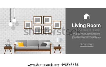 Interior Design Modern Living Room Background Vector Illustration