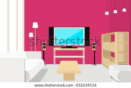 Interior Design Living Room Background Furniture Stock Vector ...