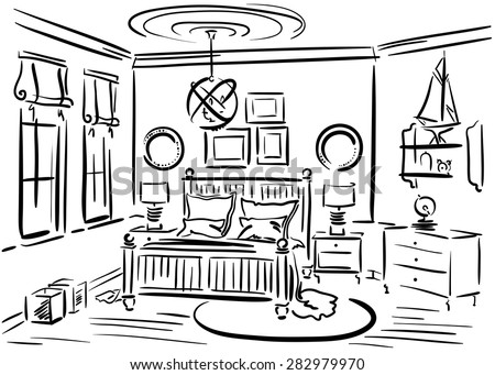 Interior design of the bedroom with double bed, luster and rug. Hand drawn vector sketch. - stock vector