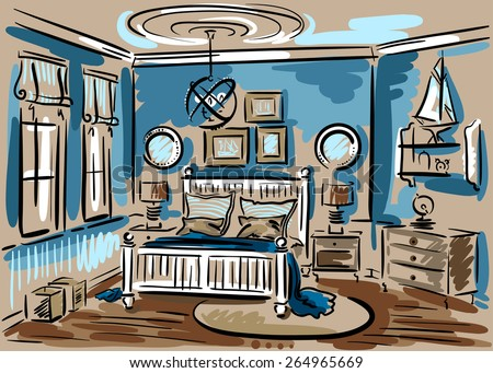 Interior Design Of The Blue Bedroom In Marine Style With Double Bed, Luster  And Rug