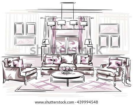 Interior design of the classic living room with sofa  arm chairs and wall  frames. Interior Design Classic Living Room Sofa Stock Vector 439994542