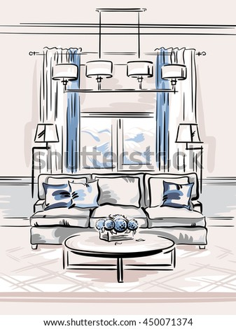 Interior Design Sketches Living Room interior design classic living room sofa stock vector 439994542
