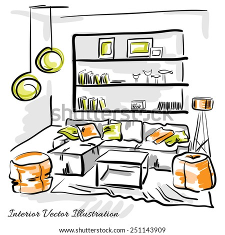 Interior Design Of The Living Room With Big Couch Puffs And Book Shelves Hand