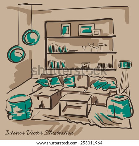 Interior design of the living room with big couch, puffs and book shelves. Hand drawn sketch. - stock vector