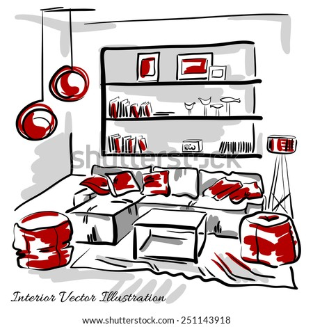 Interior design of the living room with big couch, red pillows, puffs and book shelves. Hand drawn sketch. - stock vector