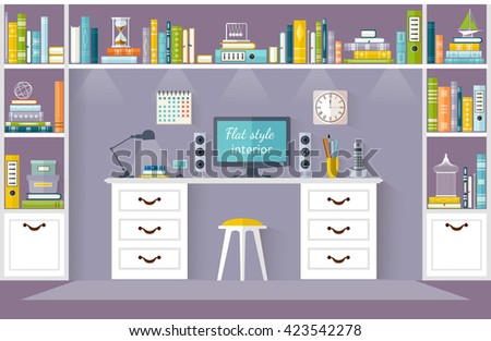 Interior Design Office Room With Furniture A Desk Shelves For Books Vector