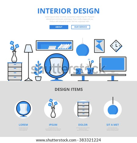 Interior Design Studio Room Indoor Furniture Concept Flat Line Art Vector  Icons. Modern Website Infographics Part 80