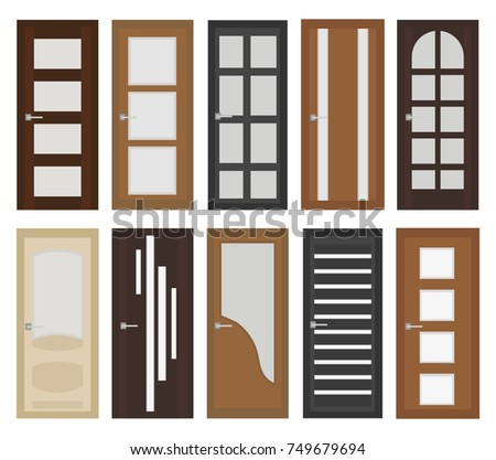 Interior doors set flat style. Door with different types of glass. Isolated on
