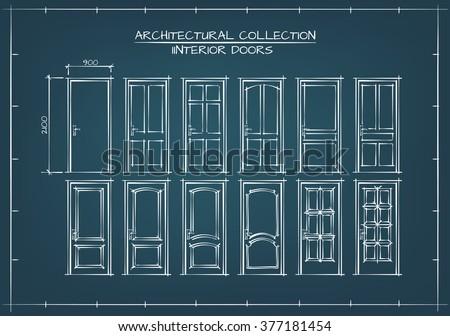Interior Doors Set. Technical Drawing, Blueprint Style. - stock vector