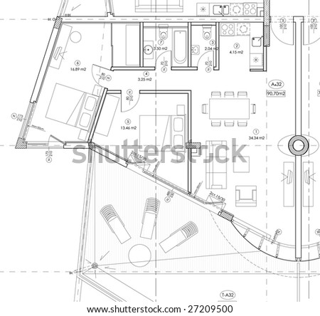 interior drawing plan - stock vector