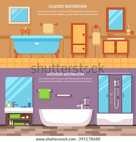 Interior furniture of the bathroom in classic and modern style banner set vector illustration - stock vector