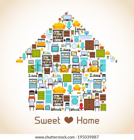 Interior furniture sweet home concept with indoors icons vector illustration. Home Sweet Home Picture Stock Images  Royalty Free Images