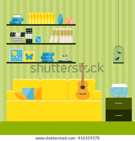 Interior. Green room with couch interior. Yellow couch. Flat style interior.  Interior for design card, invitation, book, note book, sketch book. Interior, yellow couch, guitar. Room interior. Couch.
