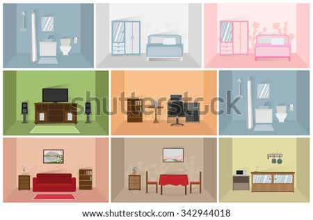 interior house rooms and furniture isolated on white background vector - stock vector