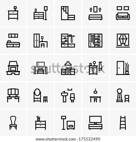 Interior icons - stock vector