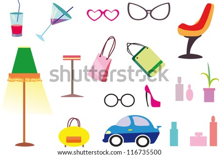 interior items - stock vector