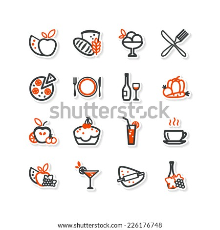 Interior, kitchen, food. Set of abstract pictures. A vector.