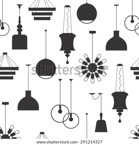 Interior lamps vector seamless pattern
