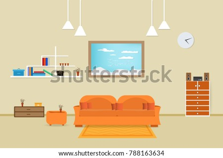 Interior Living Room Design Relax With Sofa Orange And Bookshelf Window In  Wall Background. Vector