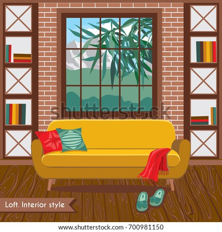 Interior Living Room In The Loft Style. House Furniture And Accessories.  Cartoon Background.