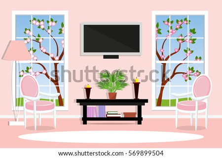 Interior Living Room Spring Landscape Outside The Window Bright And Cozy Vector Illustration