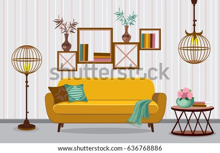 Interior Living Room. Vector Illustration In Flat Design With Shadows.  House Furniture. Cartoon