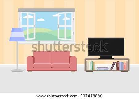 Living room furniture cozy interior sofa stock vector 413982937 shutterstock for Cartoon picture of a living room
