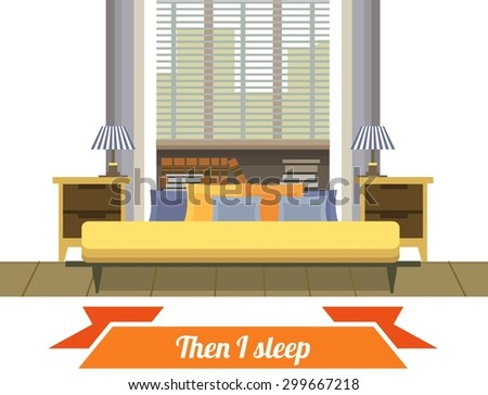 Interior living space bedroom with a bed near a window in a flat style on a white background - stock vector