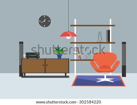 interior minimal modern living room - stock vector