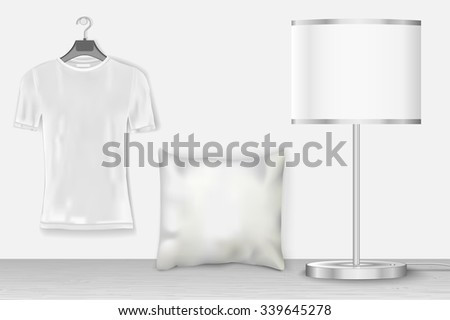 Interior mock up with t-shirt for presentation patterns and prints. Vector illustration of realistic white home objects with shadows - stock vector