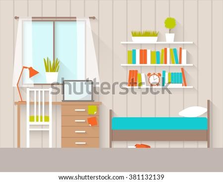 Interior bedroom flat design illustration stock vector for Chambre flat design