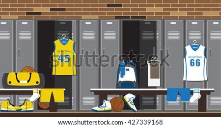 Interior Gym Locker Room Basketball Sport Stock Vector