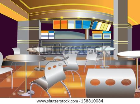 Interior of a modern bar (vector illustration) - stock vector