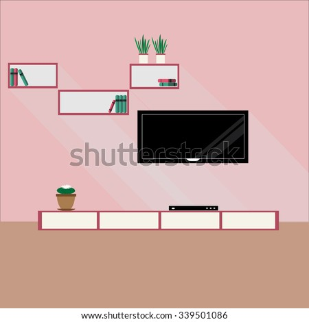 Interior Modern Living Room Furniture Flowers Stock Vector 339501086 ...